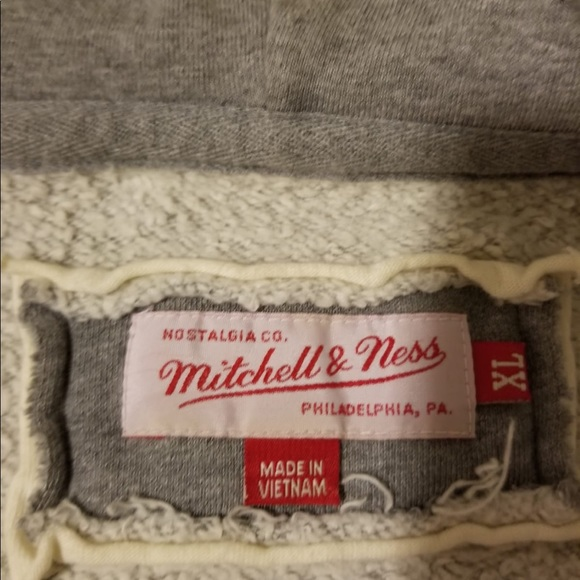 Mitchell & Ness Other - Mitchel and Ness Full zip distressed grey hoodie